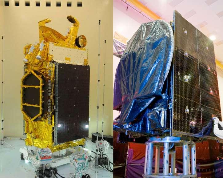Les satellites de télécommunications W3 (à gauche) et BSat-3B seront lancés ce soir par une Ariane 5. Ce sera le 53e lancement d'une Ariane 5.© Thales Alenia Space pour W3 et Lockheed Martin Commercial Space System pour BSat-3b