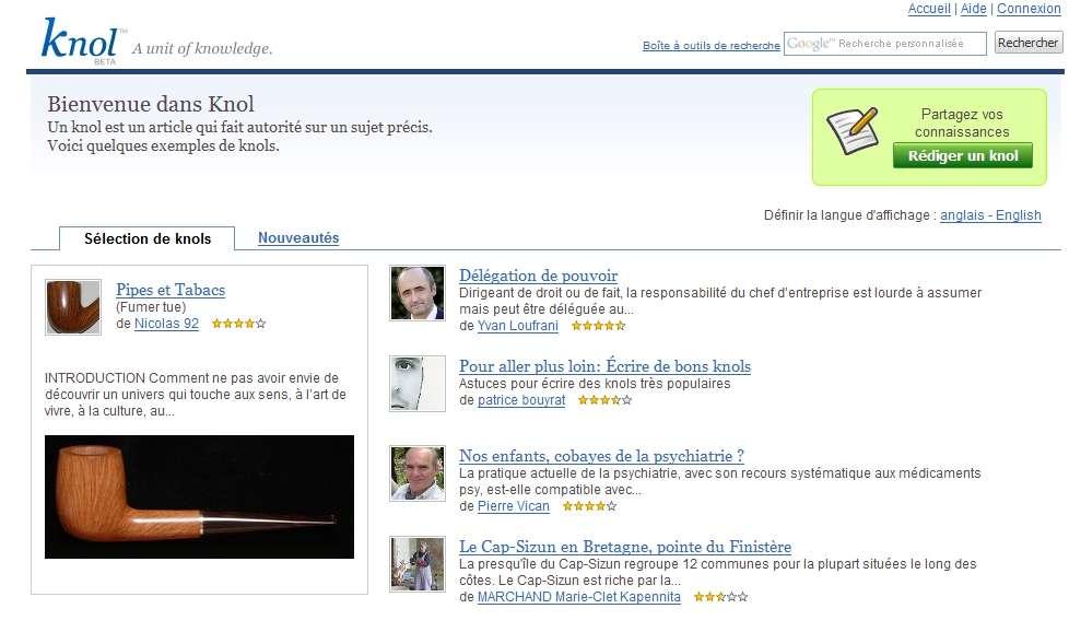 La page d'accueil de la version française, plutôt dépouillée, avec des articles mis en exergue.