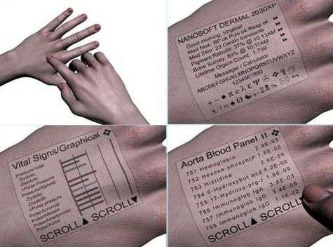 Des taches de rousseur mobiles créant un écran sous-cutané et voilà des informations toujours à portée de main !
