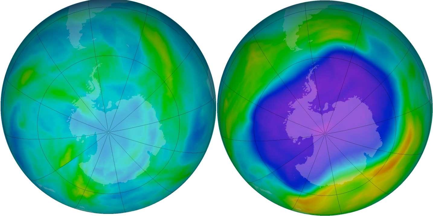 Le trou dans la couche d'ozone au-dessus de l'Antarctique s'ouvre et se ferme au gré des saisons (avril 2006 à gauche et septembre 2006 à droite). Dans cette région, la quasi-totalité de l'ozone entre 15 et 20 km d'altitude se trouve détruite chaque année au printemps. L'épaisseur totale d'ozone est alors diminuée de moitié. Une diminution de l'ozone se produit également, mais avec une moindre amplitude, au printemps au-dessus de l'Arctique. © NOAA, KNMI, Esa