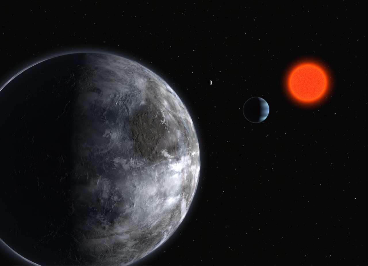 Représentation d'artiste du système planétaire de Gliese 581, une naine rouge située à 20,5 années-lumière. Des chercheurs ont montré que la durée de vie habitable de la planète Gliese 581 d dépassait 42 milliards d'années. © ESO, Wikipédia, cc by sa 3.0