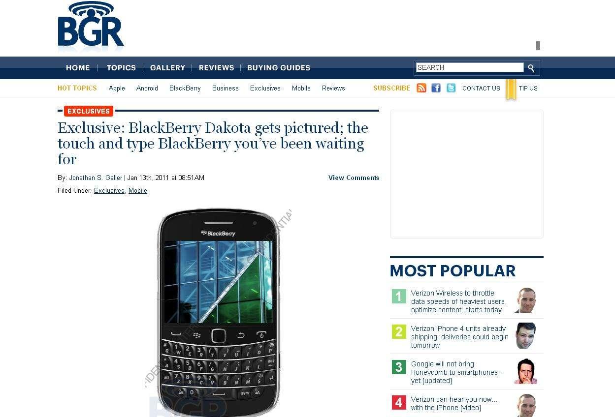 À Barcelone, RIM devrait dévoiler le Dakota, un BlackBerry combinant écran tactile et clavier physique. © BGR.com