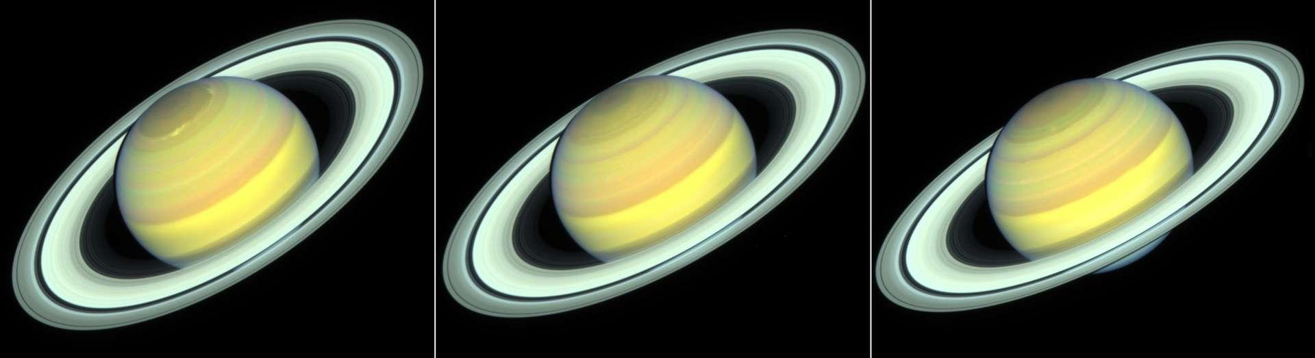De gauche à droite, Saturne en 2018, 2019 et 2020. La planète géante approche de l'automne. © Nasa, ESA, STScI, A. Simon, R. Roth