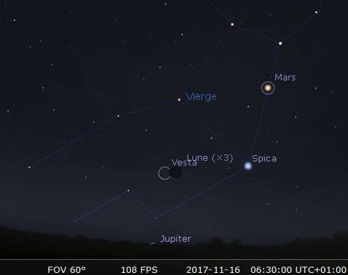 La Lune en rapprochement avec Vesta et Spica