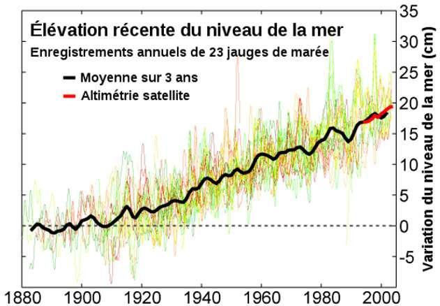 L'élévation récente, entre 1880 et 2000, du niveau de la mer (en cm) selon les marégraphes était en moyenne de 2 mm/an. © Robert A. Rohde, Wikimédia common, CC by-nc-sa 2.5