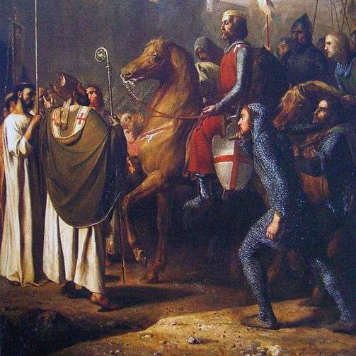 Le pouvoir du clergé au Moyen Âge n'a peut-être jamais été aussi grand que lors des croisades, en partie justifiées par la théorie des deux glaives, prônant le pouvoir supérieur de l'Église. © J.Robert-Fleury, Wikimedia Commons, DP