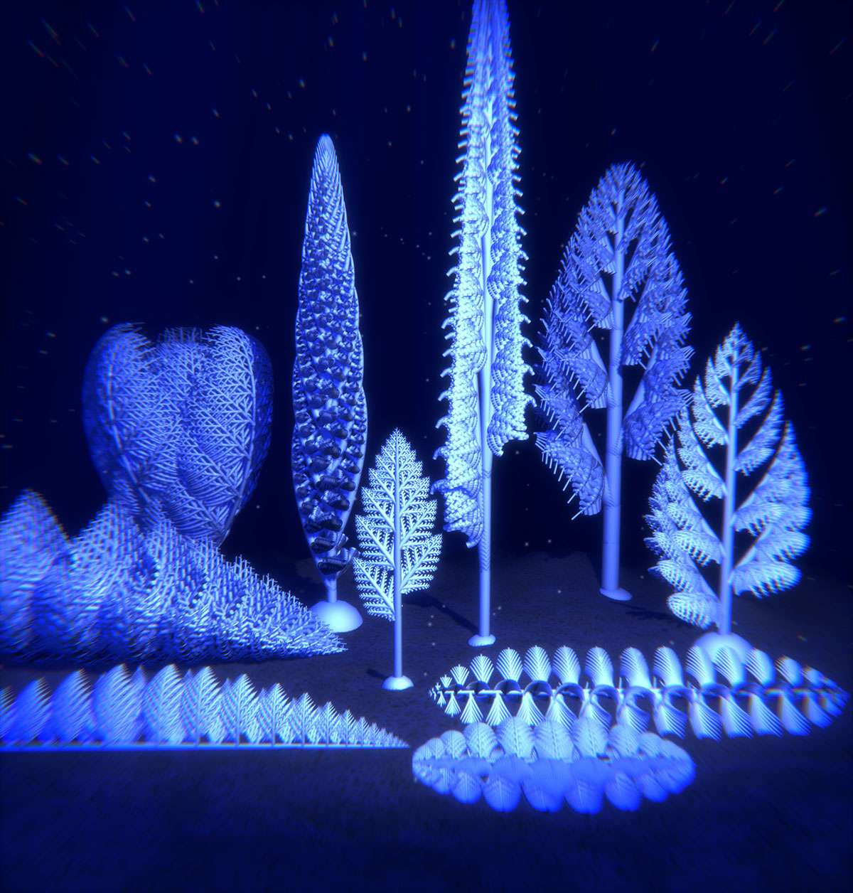 S'ils étaient tous organisés sur la même base d'embranchements fractals, comme le montrent ces reconstitutions en 3D, les Rangéomorphes se développaient verticalement sur 10 à 200 cm. Des formes spongieuses horizontales de ces animaux pouvaient également couvrir 58 mètres carrés de surface océanique. © Université de Cambridge
