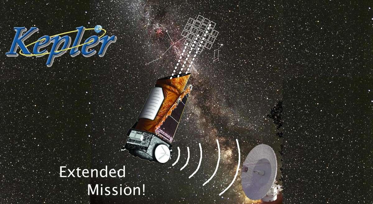 Une vue d'artiste de Kepler en train d'observer une région de la constellation du Cygne dans la Voie lactée. Par chance, le financement de la mission Kepler a été reconduit jusqu'en 2016. © Nasa