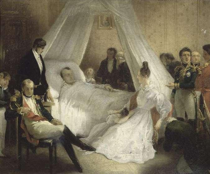 Ce tableau de Charles de Steuben, représentant la mort de Napoléon le 5 mai 1821 à Longwood, traduit le désarroi du moment. © Wikimedia Commons, DP