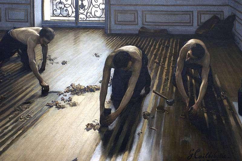 N'attendez pas que le sol soit complètement abîmé pour changer une lame de parquet. © Les raboteurs de parquet de Gustave Caillebotte (musée d'Orsay), Wikipédia, DP