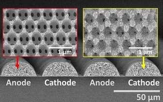 Vue microscopique des assemblages de petites boules constituant l'anode en nickel-étain (à gauche) et la cathode en dioxyde de lithium-manganèse (à droite). © Université d'Illinois