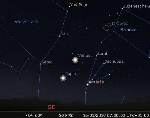 Jupiter et Vénus en rapprochement avec Antarès