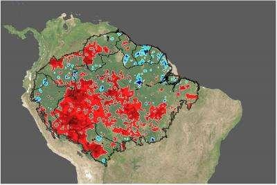 Cette image montre la configuration spatiale durant la réduction des précipitations en 2005. En rouge, les parties correspondant aux diminutions les plus sévères comparées à la normale de la période 1998-2006. Credit: Kamel Didan, Univ. Arizona.
