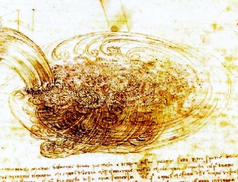 L'écoulement des fluides fascine l'Homme depuis des millénaires. Léonard de Vinci a fait plusieurs dessins montrant les formes tourbillonnantes que peut prendre l'eau, mais ce n'est qu'avec les travaux de mathématiciens comme Euler, Navier et Stokes que l'on a commencé à pouvoir les décrire et les comprendre. Aujourd'hui, la mécanique des fluides est un bagage indispensable pour les physiciens et les ingénieurs, et elle offre toujours des défis à la sagacité des mathématiciens. © Images des mathématiques, CNRS