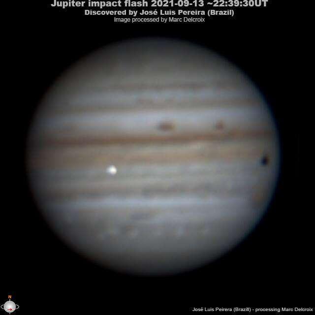 L'impact sur Jupiter du 13 septembre 2021, photographié par l'astronome amateur brésilien José Luis Pereira. Image traitée par Marc Delcroix. © José Luis Pereira et Marc Delcroix