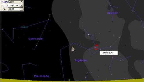 La Lune passe à proximité de l'étoile Nunki