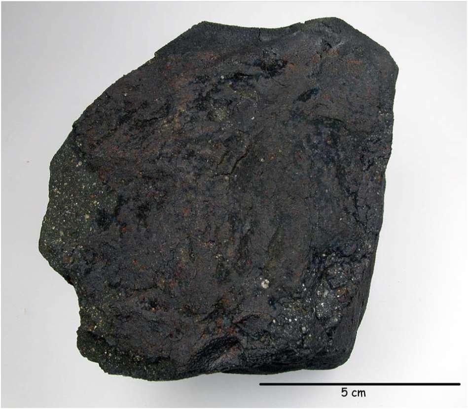 La croûte de fusion générée par l'échauffement de la météorite Paris lorsqu'elle est entrée dans l'atmosphère est bien visible. © MNHN