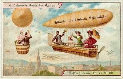 En 1900, nos ancêtres nous imaginaient à bord de berlines familiales volantes. © Hildebrands