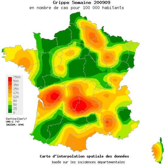 La carte de la grippe saisonnière pour la semaine du 23 février au premier mars 2009. Les couleurs indiquent l'incidence pour 100.000 habitants. En vert, les zones où cette valeur est nulle. En rouge, celles où elle dépasse 500 cas. © Réseau Sentinelles
