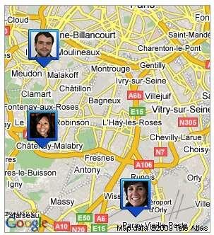 Les contacts qui l'ont bien voulu apparaissent sur l'écran du mobile avec Google Maps. © Google