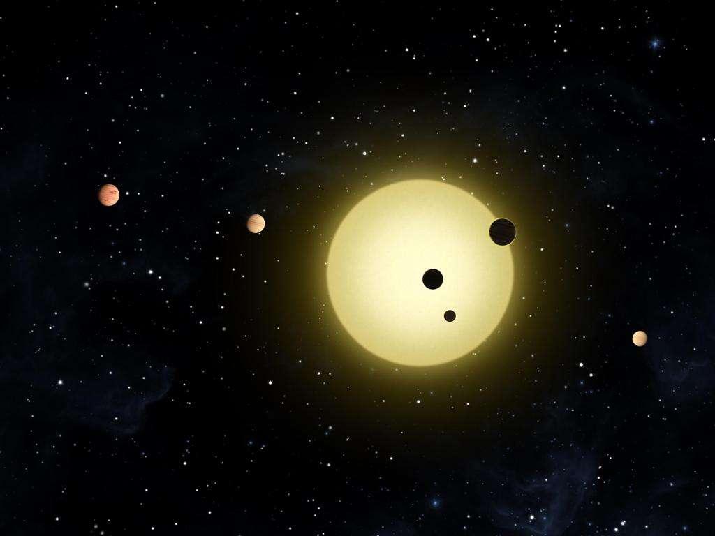Une vue d'artiste de Kepler 11 et son cortège d'exoplanètes. © Nasa/Tim Pyle