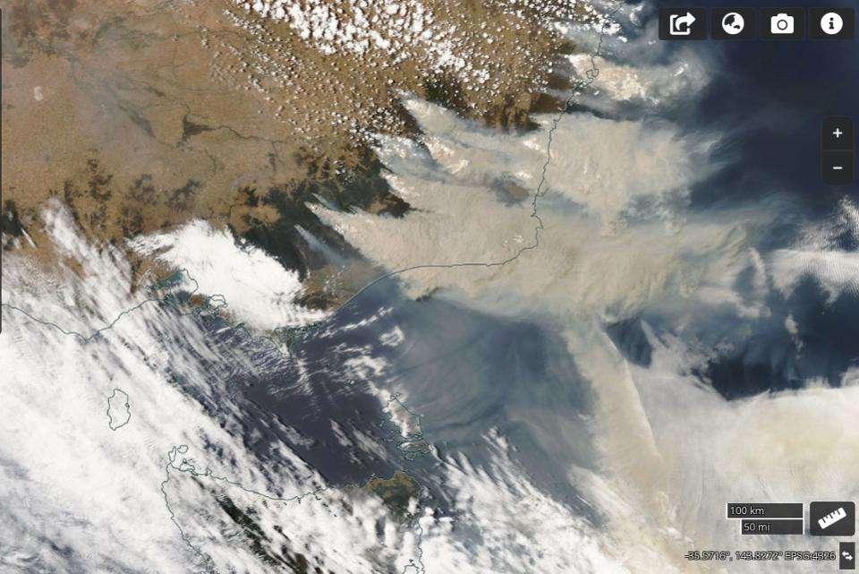 Les panaches de fumée immortalisés depuis l'espace par la Nasa début janvier. © Nasa