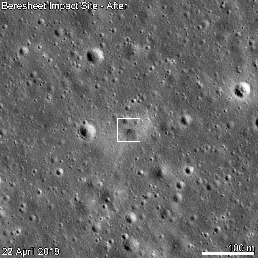 Le site du crash de Beresheet, vu par la sonde Lunar Reconnaissance Orbiter (LRO) le 22 avril 2019. L'atterrisseur israélien développé par SpaceIL s'est écrasé sur la Lune le 11 avril 2019. © NASA/GSFC/Arizona State University