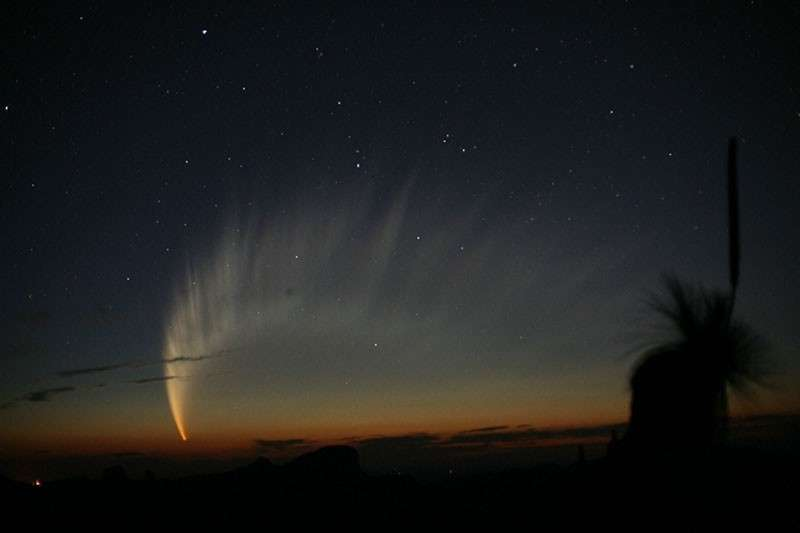 L'astronome Robert H. McNaught était le mieux placé pour photographier « sa » comète depuis l'observatoire australien de Siding Spring au début de l'année 2007. Découvert quelques mois plus tôt, ce qui explique sa dénomination (C/2006 P1), cet astre chevelu est désormais le plus grand connu. Crédit R. H. McNaught