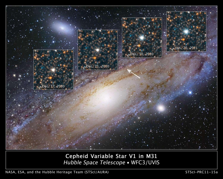 Les variations d'éclat de V1, une céphéide célèbre de la galaxie M 31. © Nasa/Esa/The Hubble Heritage Team (STScI/AURA)/ R. Gendler