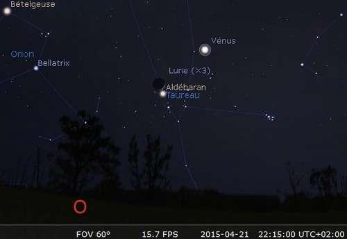 La Lune en rapprochement avec Aldébaran et Vénus