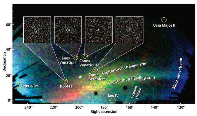 Les galaxies naines découvertes récemment par le SDSS (Crédit : Vasily Belokurov, SDSS-II, Astronomy magazine, Kalmbach Publishing Co).