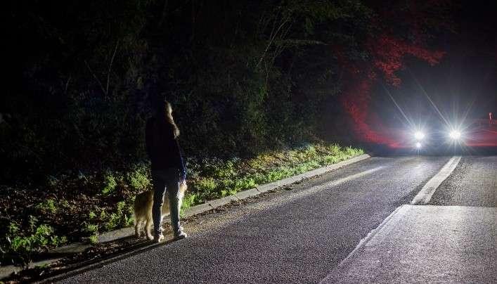 Le prototype de système d'éclairage de Ford utilise une caméra infrarouge reliée à deux projecteurs indépendants pour détecter les piétons et les animaux de grande taille sur les portions de routes non-éclairées. Un faisceau lumineux révèle leur présence qui est également matérialisée sur l'écran central du tableau de bord. © Ford