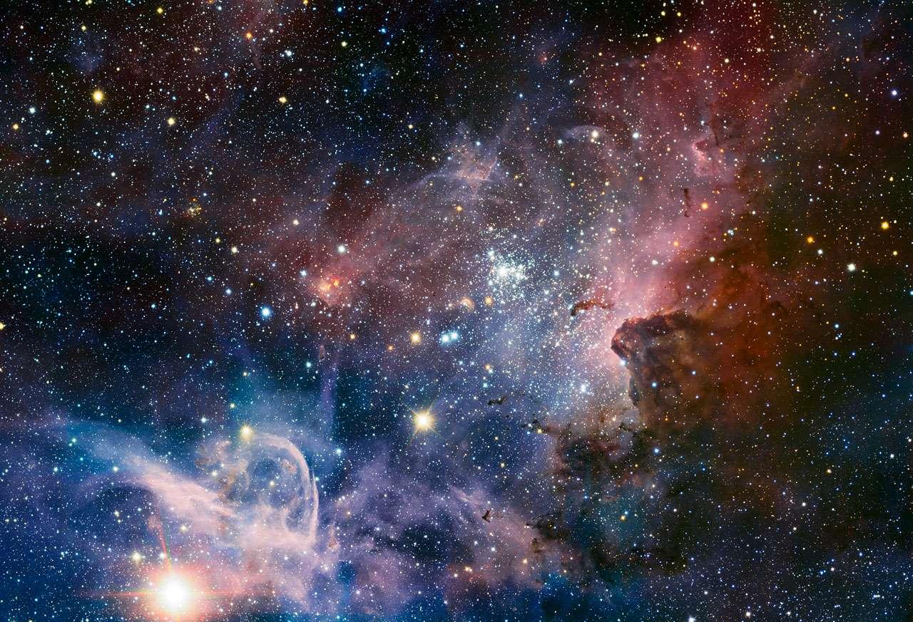 Ce panorama de la nébuleuse de la Carène réalisé en infrarouge par le VLT est l'une des plus belles images jamais réalisées par les télescopes de l'ESO. © ESO/T. Preibisch