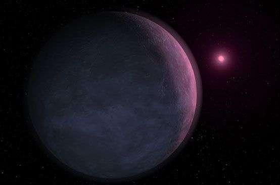 Vue d'artiste de MOA-2007-BLG-192Lb devant une naine brune. Les études suggèrent que la lumière de ces étoiles est absorbée par certains éléments de leur atmosphère (sodium, potassium...), ne laissant filtrer qu'une coloration magenta. Crédit Nasa