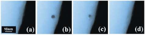 Un échantillon de verre : à l'état initial (a) ; après deux minutes de bombardement par un faisceau d'électrons (b) ; 30 secondes (c) et deux minutes (d) suivant la fin du bombardement. Le verre a alors totalement recouvré son état initial.