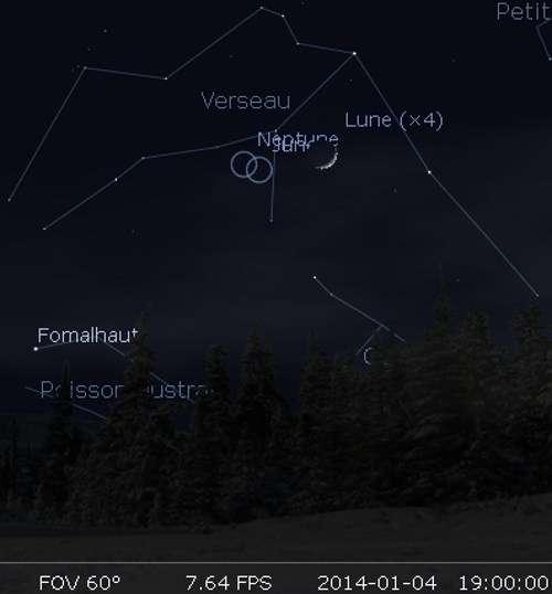 La Lune en rapprochement avec Neptune et Junon