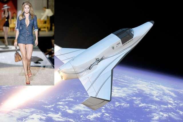 Doutzen Kroes, que l'on voit ici défiler, est une des quinze personnalités néerlandaises (la même nationalité que la société Space Expedition Curaçao) qui fera partie des premières personnes à voler dans l'espace à bord du Lynx Mark II de XCOR Aerospace en 2014. © XCOR Aerospace