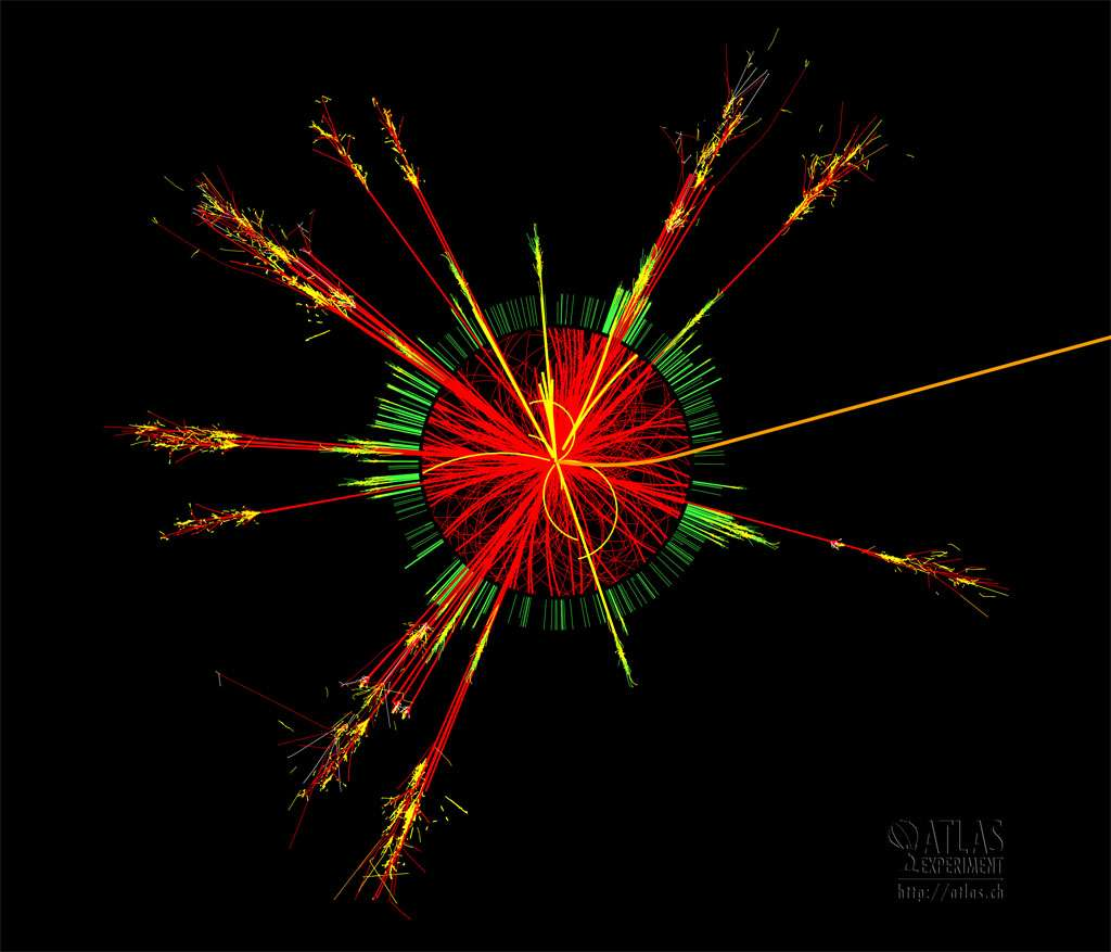 Une simulation de l'évaporation d'un minitrou noir dans le détecteur Atlas du LHC. Elle serait clairement visible parce qu'elle serait notamment accompagnée de jets de hadron dans toutes les directions comme on peut le voir sur l'image. Mais la création de ces objets suppose l'existence d'une nouvelle physique avec des dimensions spatiales supplémentaires. © Cern