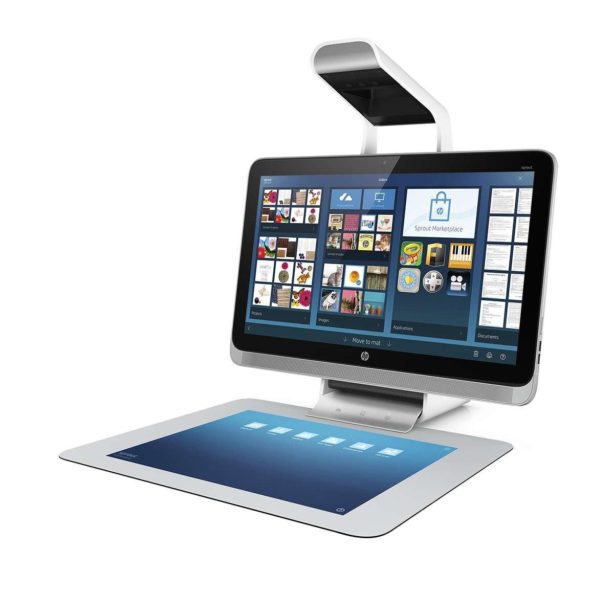 HP propose une réinterprétation du PC de bureau avec cet ordinateur dépourvu de clavier et de souris. Le module Illuminator placé au-dessus de l'écran 23 pouces (58 cm) intègre un projecteur DLP et un scanner 3D. Le système projette l'interface sur le tapis tactile pour que l'utilisateur puisse travailler avec les doigts ou un stylet, et il peut aussi scanner un objet physique en 3D placé sur le tapis. © HP