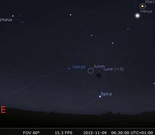 La Lune en rapprochement avec Junon et Spica
