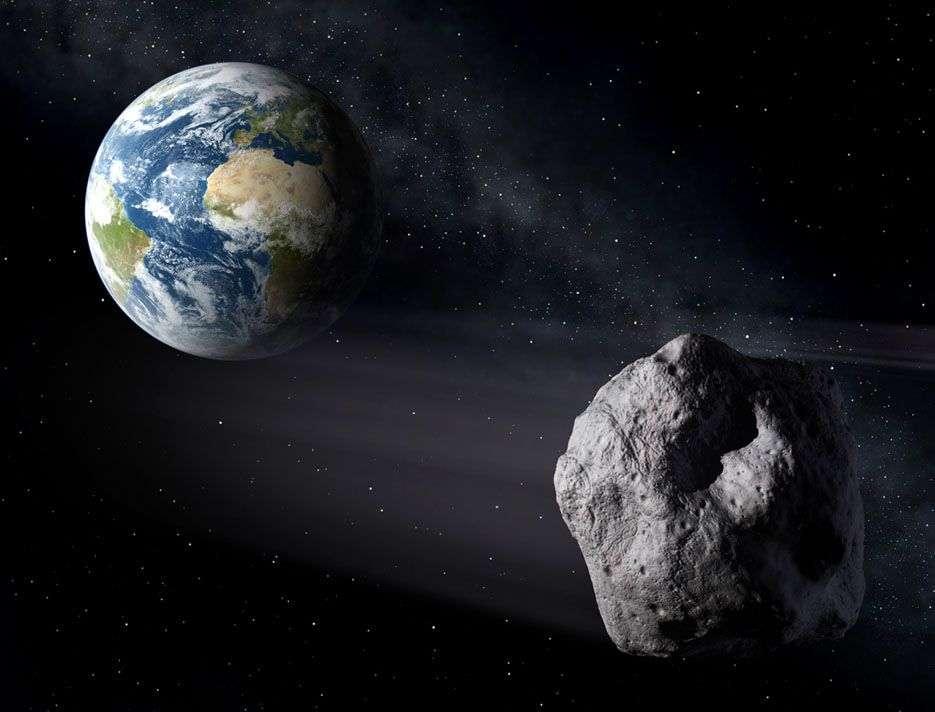 Vue d'artiste d'un astéroïde potentiellement dangereux (PHA) frôlant la Terre. © Esa, P. Carril