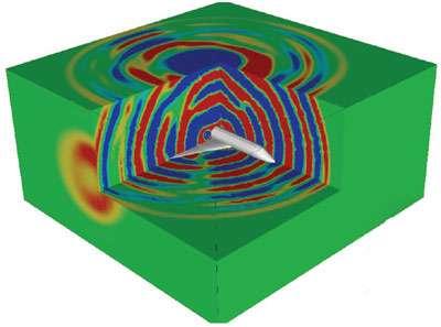 En 3D, le schéma de la réflexion et de la diffraction d'une source acoustique par un avion, obtenu par la méthode Galerkine discontinue appliquée aux équations d'Euler linéarisées. Le Siècle des lumières est toujours avec nous. © Onera
