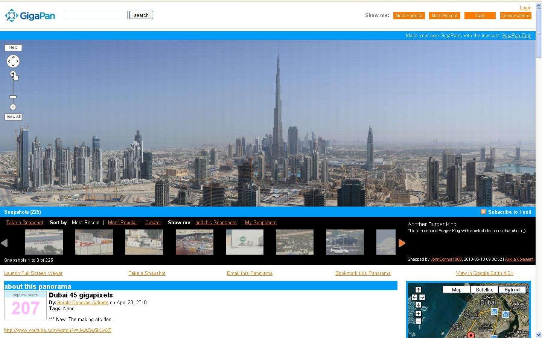 Une vue panoramique de Dubaï (Emirats arabes unis). On distingue la tour Khalifa et de multiples chantiers. Quelques manipulations de souris suffisent pour s'y balader. © Gigapan.Org
