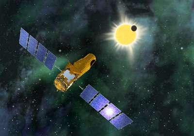 Vue d'artiste du satellite Corot observant un transit planétaire. La sensibilité de sa charge utile lui permettra de détecter la baisse de luminosité d'une étoile lorsqu'une planète proche lui passera devant.