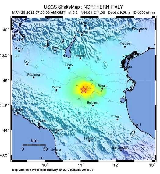 Le séisme s'est produit au nord de l'Italie, en Émilie-Romagne, près de la ville de Medolla. © USGS