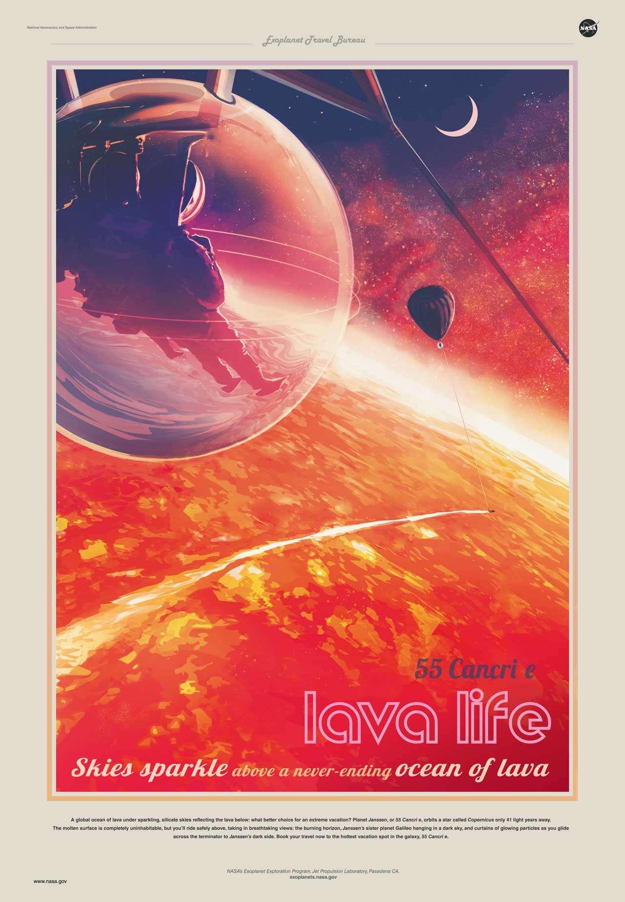 « Les cieux brillent au-dessus d'un océan de lave infini ». Poster au style vintage de l'Exoplanet Travel Bureau faisant la promotion d'un voyage vers 55 Cancri e. © Nasa-JPL/Caltech