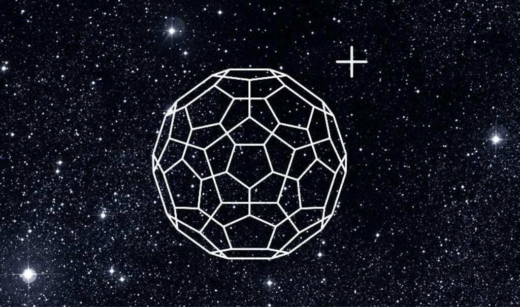 Une image d'artiste illustrant la découverte longtemps soupçonnée de la présence de la molécule buckminsterfullerène dans le milieu interstellaire (MI). © Universität Basel