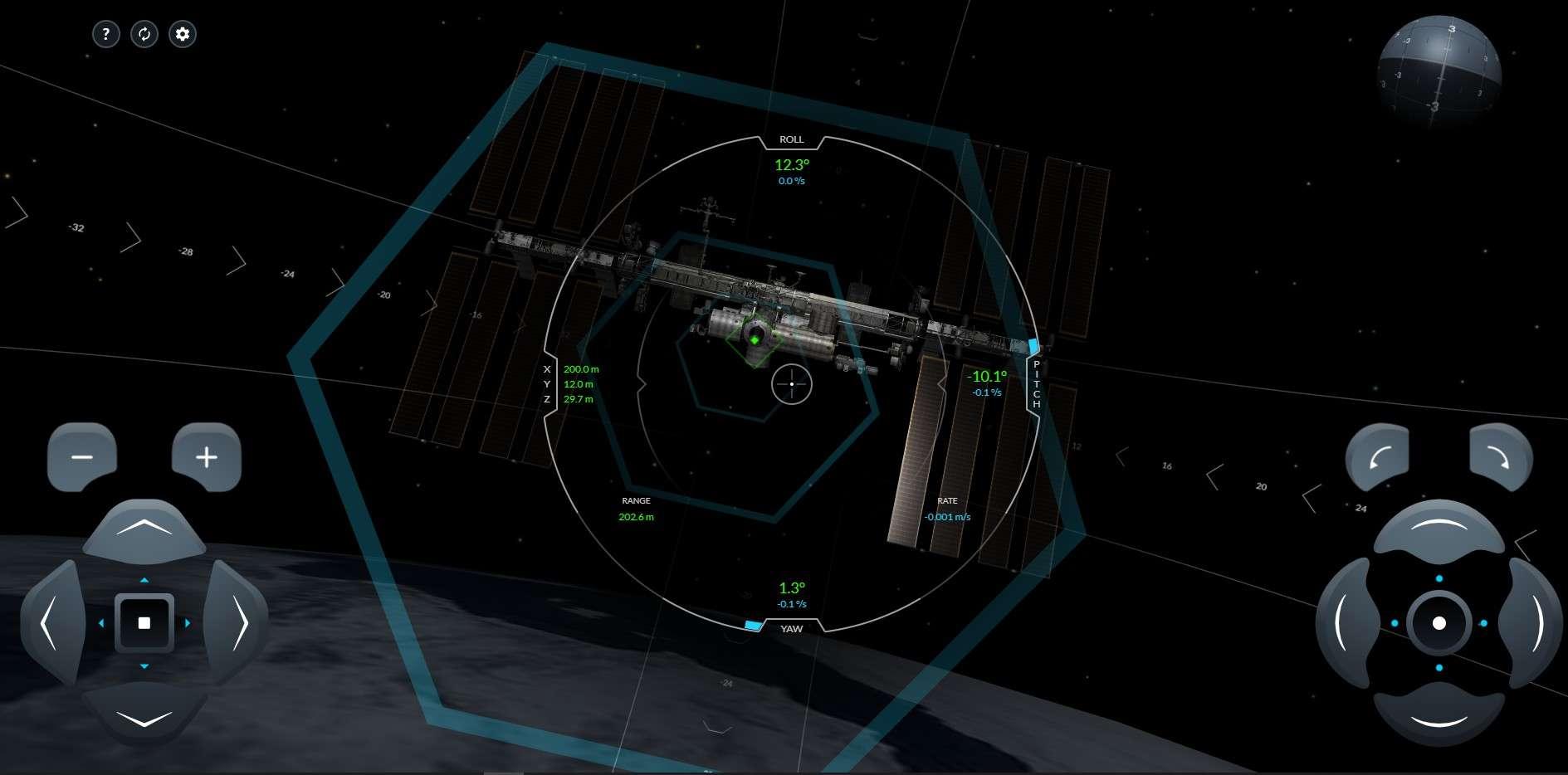 Le simulateur d'amarrage à l'ISS du vaisseau Crew Dragon. Cette interface est la même que celle qu'utilisent les astronautes de la Nasa pour s'entrainer. © SpaceX