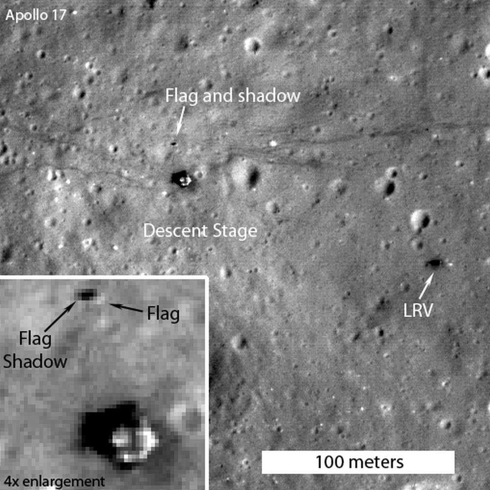 Quarante ans après, le drapeau américain flotte toujours sur le site d'Apollo 17, la dernière mission humaine sur la Lune qui se déroula en décembre 1972. © Nasa, GSFC, Arizona State University