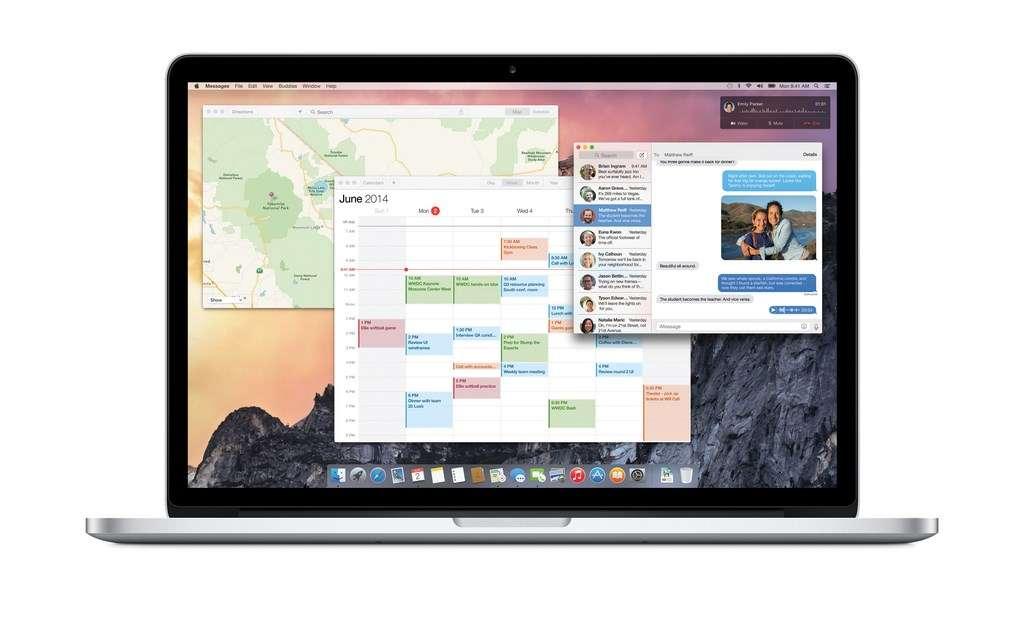 La nouvelle mise à jour OS X Yosemite emprunte beaucoup à l'esthétique d'iOS 7 avec un design plus épuré, des icônes aplanies et des effets translucides. Cette mouture introduit une plus grande complémentarité avec le système d'exploitation mobile d'Apple en améliorant la synchronisation et le partage des fichiers et en permettant de recevoir sur son Mac des messages (SMS ou MMS) et appels vocaux adressés à un iPhone. © Apple